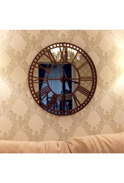 Hediyelikevi Ahşap Aynalı Roma Rakamlı Duvar Saati