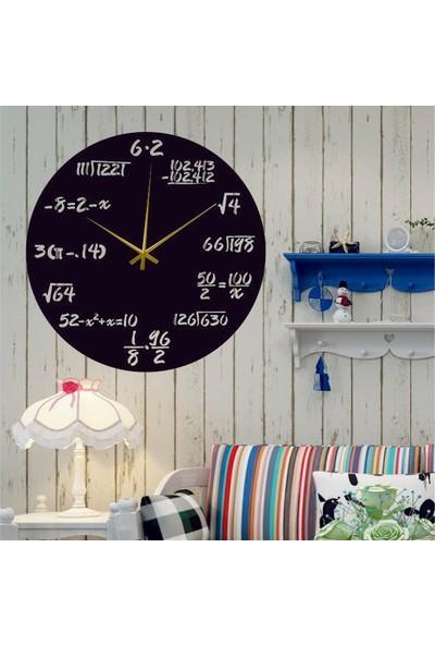 Hediyelikevi Ahşap Matematik Formullü Dekorlu Duvar Saati