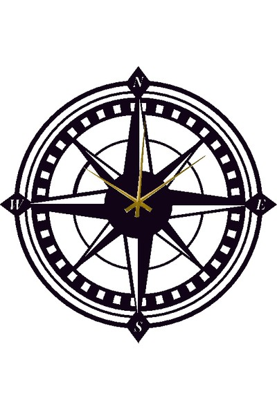 Hediyelikevi Ahşap Pusula Temalı Duvar Saati