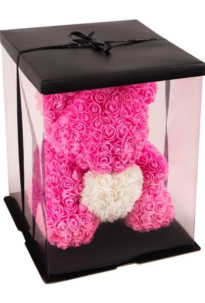 Solenzara Flowers Teddy Rose Pembe Güllü Beyaz Kalpli Solmayan Gül 40 cm