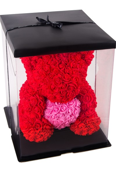 Solenzara Flowers Teddy Rose Kırmızı Güllü Pembe Kalpli Solmayan Gül 40 cm