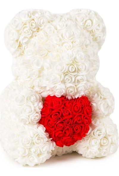 Solenzara Flowers Teddy Rose Beyaz Güllü Kırmızı Kalpli Solmayan Gül 40 cm