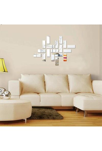 Kıraç Dekoratif Duvar Tuğla Desen Gümüş Ayna Pleksi 18 Adet 6 x 15 cm