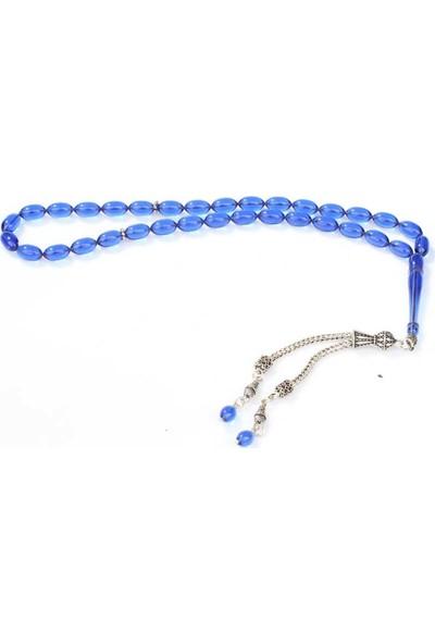Nusret Takı 925 Ayar Gümüş Mavi Renkli Sıkma Kehribar Tesbihi
