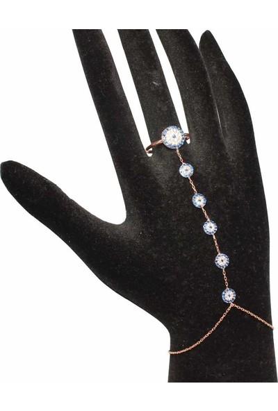 Nusret Takı 925 Ayar Rose Gümüş Yüzüklü Nazar Boncuğu Modeli Şahmeran
