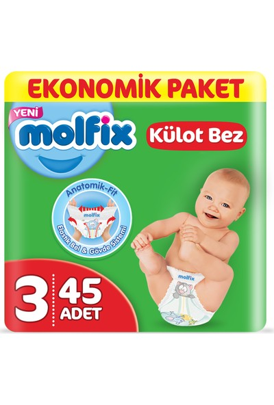 Molfix Külot Bez 3 Beden Midi Ekonomik Paket 45 Adet