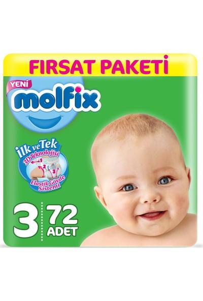 Molfix Bebek Bezi 3 Beden Midi Fırsat Paketi 72 Adet