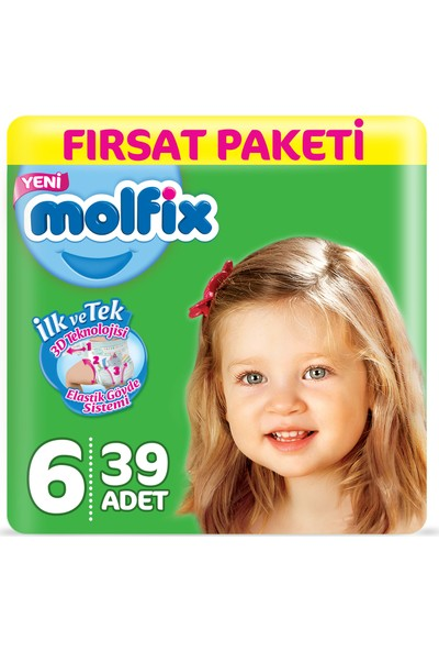 Molfix Bebek Bezi 6 Beden Ekstra Large Fırsat Paketi 39 Adet