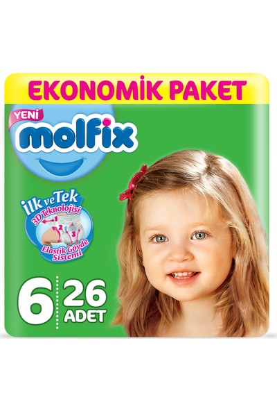 Molfix Bebek Bezi 6 Beden Ekstra Large Ekonomik Paket 26 Adet