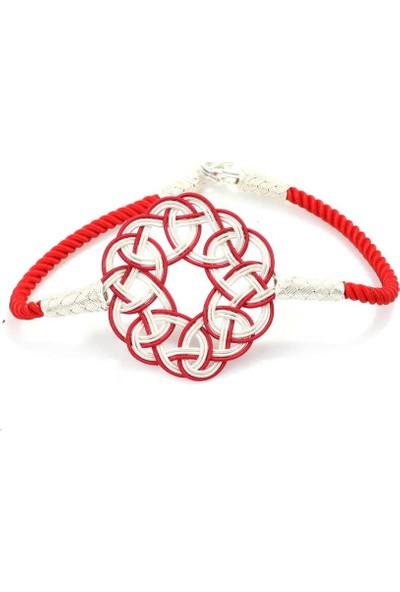Nusret Takı 999 Ayar Gümüş Kırmızı Aşk Düğümü Kazaz Bileklik