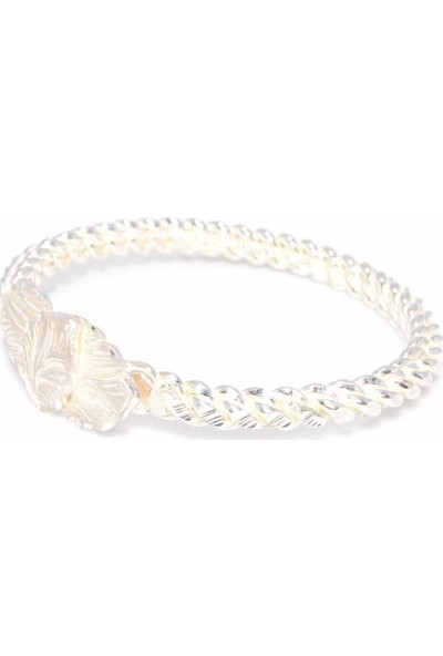 Nusret Takı 925 Ayar Gümüş Beyaz Yaprak Kaş Burma Bilezik