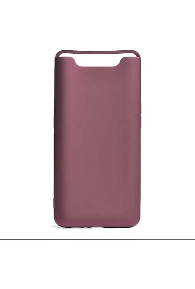 CoverZone Samsung Galaxy A80 Kılıf Premier Silikon Sakssi + Temperli Ekran Koruma + Dokunmatik Kalem - PRE150 Mor