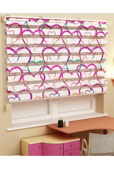 Sezerler Perde Baskılı Zebra Perde Büyük Kalp Desen 60 x 200 cm