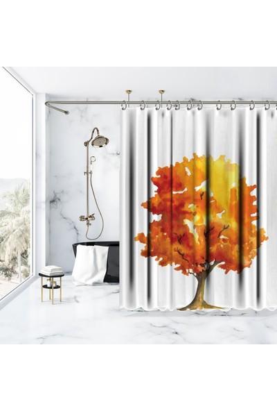 Henge Sarı Turuncu Sulu Boya EtkiliAğaç Sonbahar Duş Perdesi