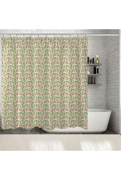 Henge Pembe Gül Tomurcuk Yeşil Yapraklar Desenli Duş Perdesi