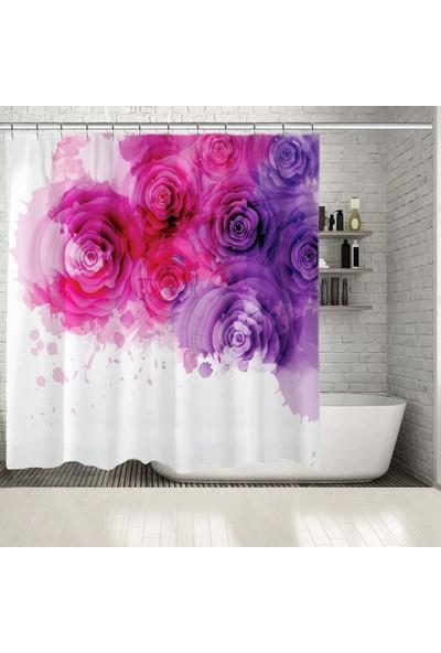 Henge Mor Pembe Güller Çiçek Sulu Boya Resim Baskılı Duş Perdesi
