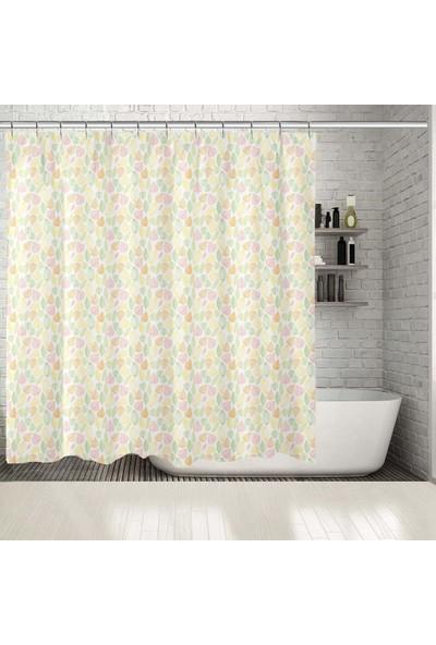 Henge Sarı Yeşil Turuncu Pembe Yapraklar Duş Perdesi