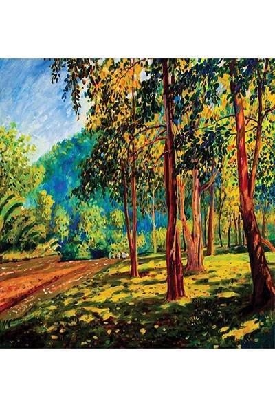Henge Yağlı Boya Etkili Yeşil Orman Manzaralı Duş Perdesi