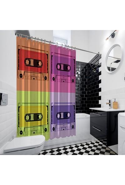 Henge Pop-Art Sanatı Etkili Renkli Kaset Desenli Duş Perdesi