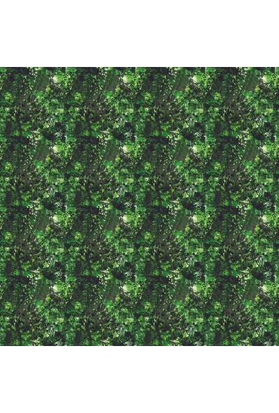 Henge Yeşil Siyah Stilize Yaprak Doğa Desenli Duş Perdesi