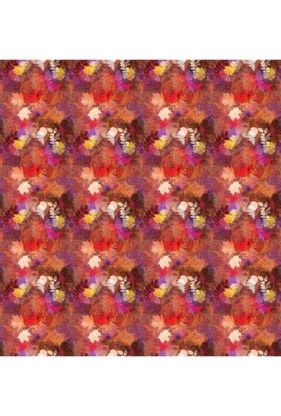 Henge Sonbahar Temalı Kırmızı Sarı Yaprak Desenli Duş Perdesi