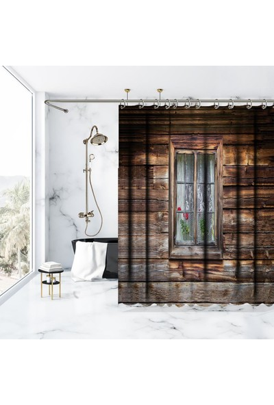 Henge Ahşap Ev Pencere Desenli Duş Perdesi