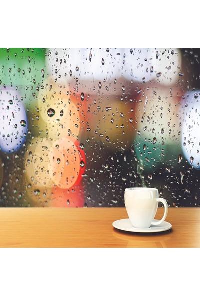 Henge Yağmurlu Hava Kahve Fincanı Ahşap Masa Duş Perdesi
