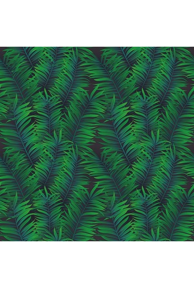 Henge Yeşil Tropikal Yapraklı Desenli Siyah Duş Perdesi