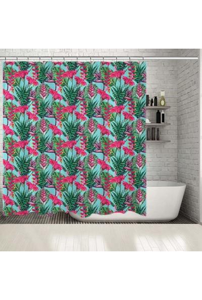 Henge Tropikal Yaprak Çiçek Desenli Mavi Pembe Duş Perdesi