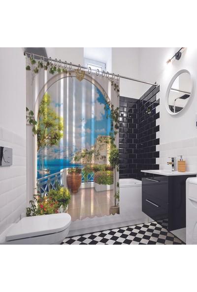 Henge Fantastik Okyanus Manzaralı Balkon Duş Perdesi