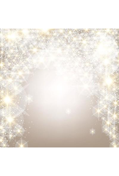 Henge Yılbaşı Temalı Parlak Yıldızlı Beyaz Duş Perdesi