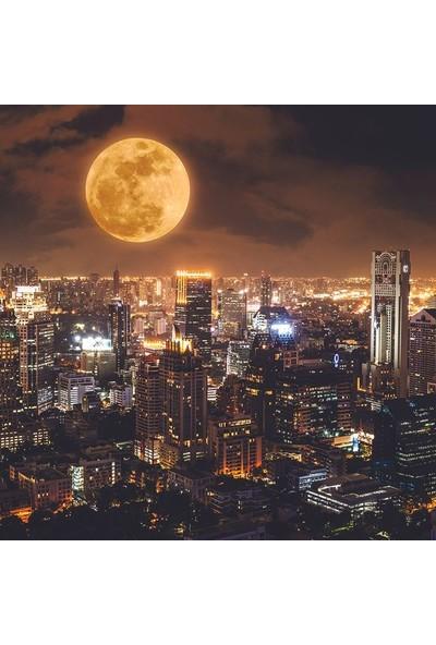 Henge Dolunaylı Gece Şehir Manzarası Desenli Duş Perdesi