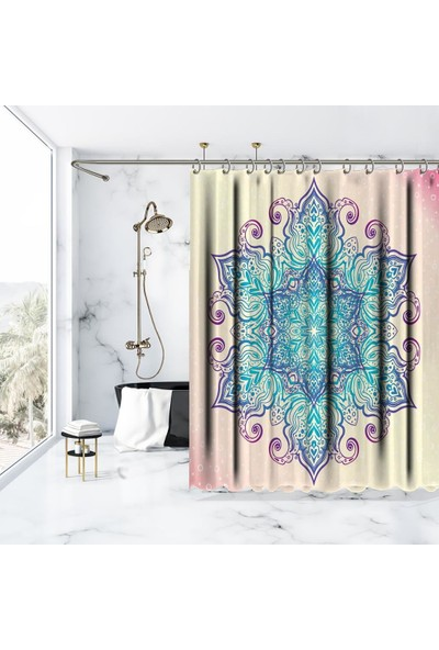 Henge Mandala Etkili Desen Mor Pembe Mavi Duş Perdesi