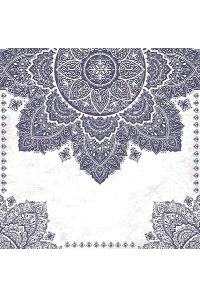 Henge Mandala Etkili Desen Krem Rengi Lacivert Duş Perdesi