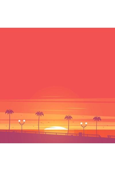 Henge Yaz Mevsimi Palmiyeli Yol Gün Batım Desenli Duş Perdesi