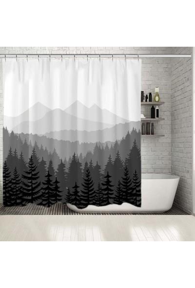 Henge Orman Çam Desenli Dağ Siyah Beyaz Gri Duş Perdesi