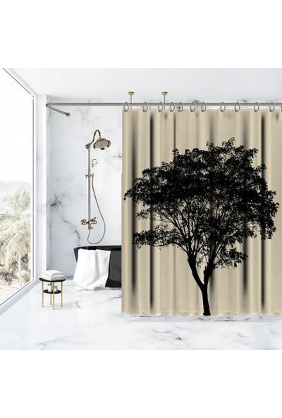 Henge Yapraklı Ağaç Desen Siyah Krem Rengi Duş Perdesi