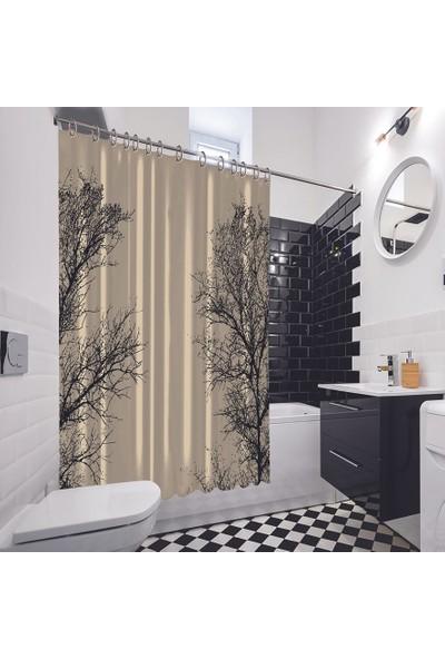 Henge Ağaç İki Dal Desen Siyah Krem Rengi Duş Perdesi