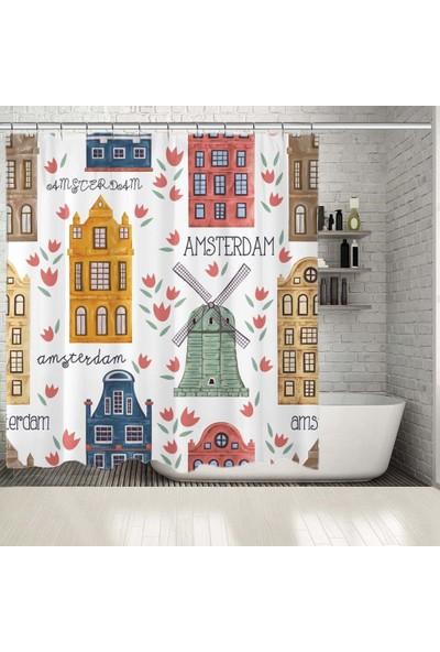 Henge Amsterdam Evleri Desenli Sarı Kırmızı Mavi Duş Perdesi