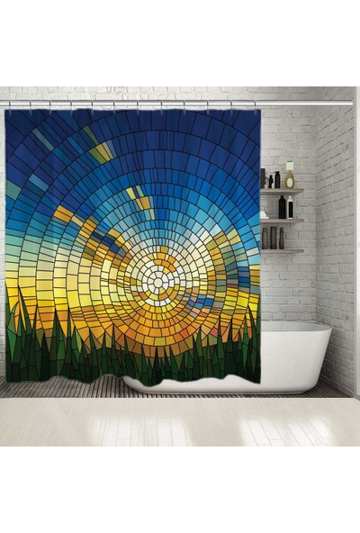Henge Ayna Vitray Desenli Güneş Mavi Sarı Yeşil Duş Perdesi