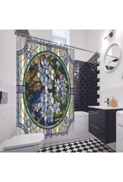 Henge Mor Menekşe Vitray Desenli Pencere Ayna Duş Perdesi