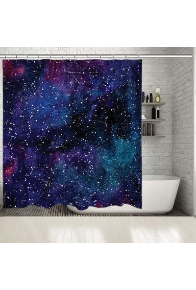 Henge Galaksi Yıldızlı Gökyüzü Desen Lacivert Mor Duş Perdesi