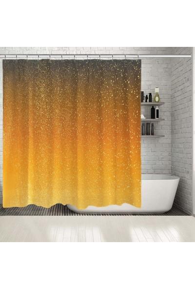Henge Sarı Ombre Desenli Benekli Duş Perdesi