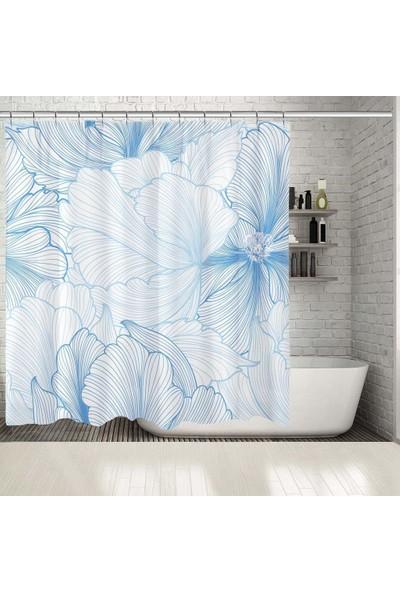 Henge Mavi Beyaz Çiçek Desenli Duş Perdesi