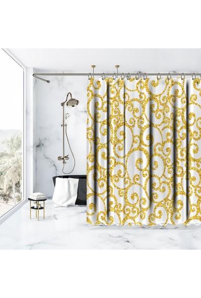 Henge İhtişamlı Desen Gold Altın Rengi Beyaz Duşperdesi