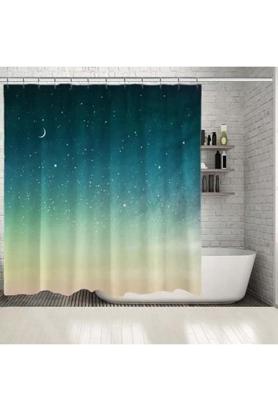 Henge Gece Manzarası Ay Bulut Yıldız Deseni Duşperdesi