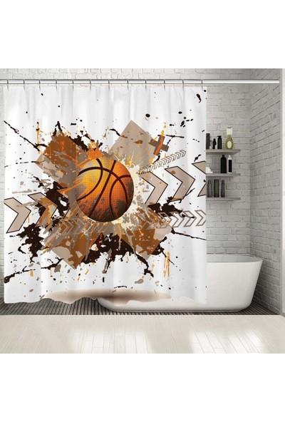 Henge Efektli Basketbol Deseni Mor Duşperdesi