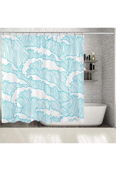 Henge Mavi Beyaz Deniz Dalgalı Desenli Duşperdesi
