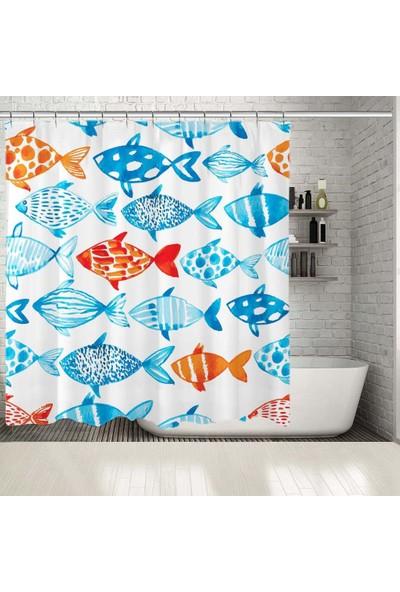 Henge Sulu Boya Etkili Mavi Balık Desenli Duşperdesi