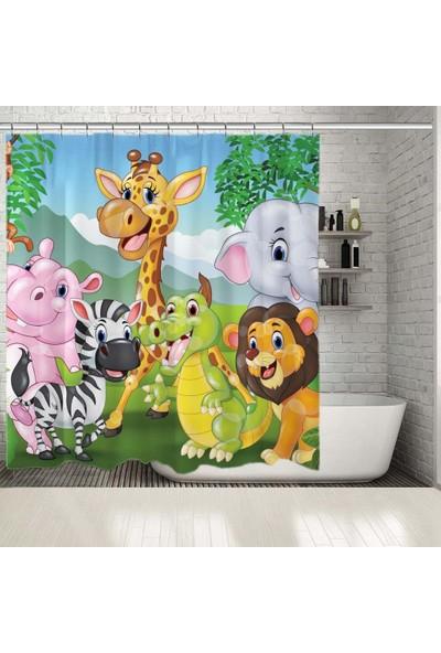 Henge Çocuklar İçin Sevimli Hayvan Desenli Duşperdesi